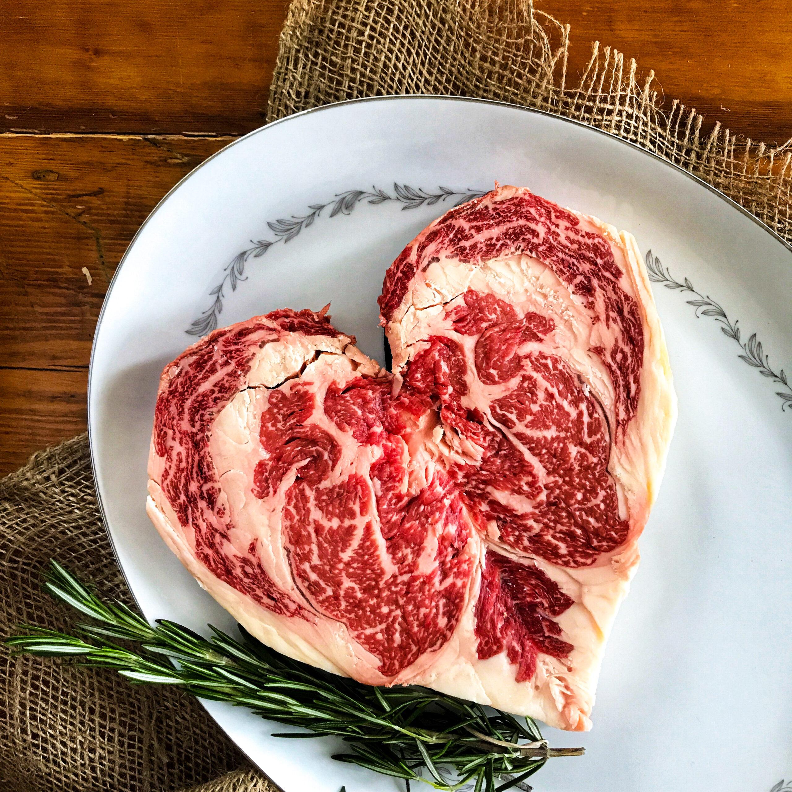 Valentine's Day Heart-Shaped Ribeye Steak