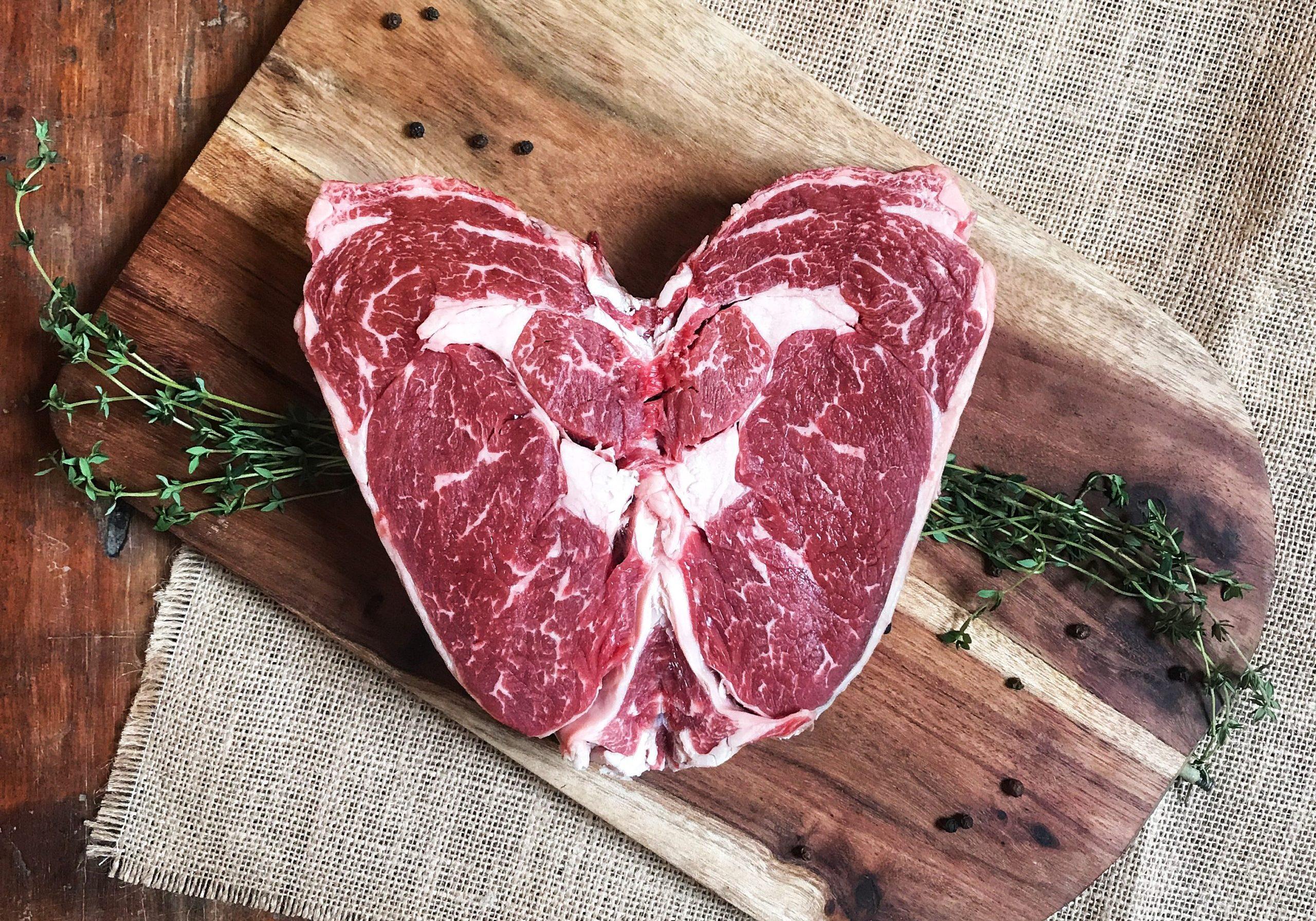 Valentine's Day Steak in a heart-shape