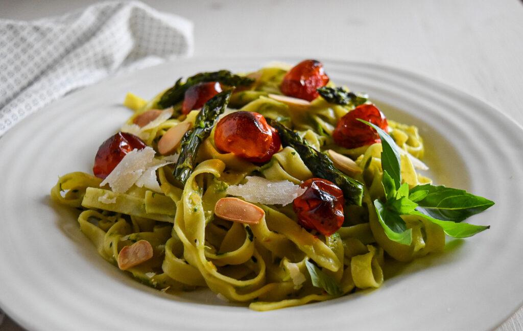 Pasta with Roasted Asparagus & Almond Pesto